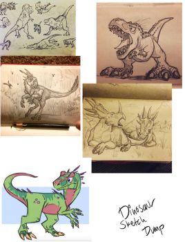 Dinosaur Sketchdump by Clairictures