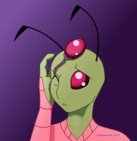 Invader Zim has head eyeballs by snakehands