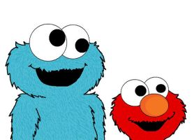 Cookie monster and Elmo by RiNaKo-FuNkY