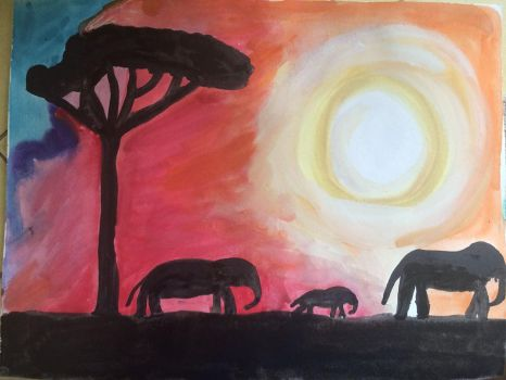 African Silhouette in Watercolor by ArtisticPaintbrush