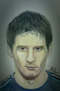 Lionel Messi Colour Pencil Portrait Drawing by ZeddiXTree