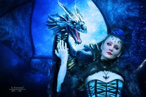The bleu dragon and witch by annemaria48