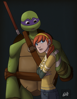 Donatello And April Touch By Lledra On Deviantart