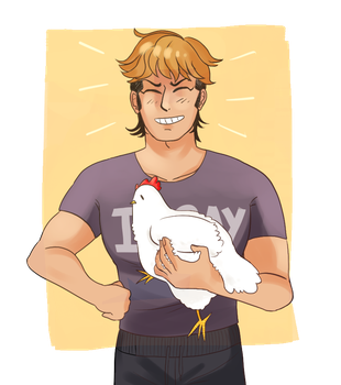 its mondo and he is holding a chicken by CrazyDiamonds