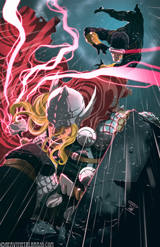 Thor Vs Cyclops by HeavyMetalHanzo