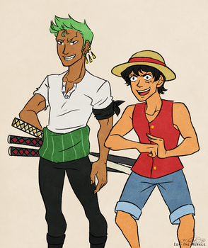 Luffy and Zoro by Eek-the-Menace