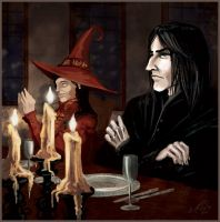 Snape at the teacher's table by WhiteElzora