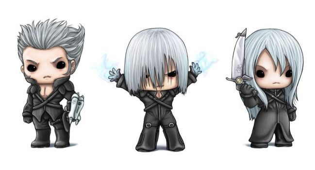 Chibi Silver Haired Men by capsicum