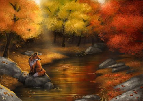 A Fox by the Riverside by Nimrais