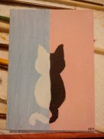 black and white cat by ktjayne