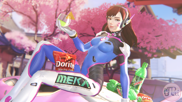 D.Va with Mtn Dew ''Mocktail'' by Pumpkin-Pai