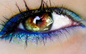 Blue glitter makeup by Ladybrandybuck