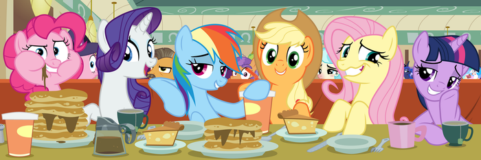 Eating At The Diner With The Mane 6 by TomFraggle