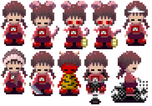 Yume Nikki Madotsuki Sprite Icons by Doctor-Cool