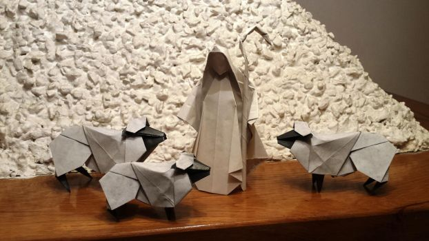 Origami Sheeps and shepherd by Orestigami