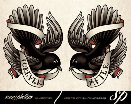 Willie Wagtail Tattoos by Sam-Phillips-NZ