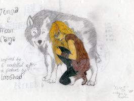 Timna and Moon in wolf form. by JakeHamsung