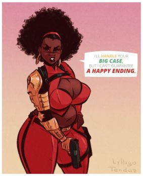 Misty Knight - A Happy Ending - Shaded Sketch by HugoTendaz
