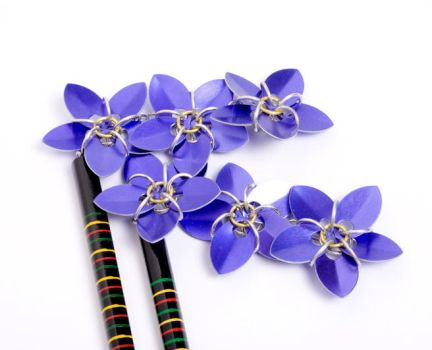 Dragonscale Flower Hair Sticks by ZoeQuinn
