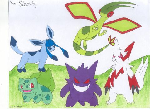Porkhays Pokemon Party Colored by DeathChicken3192