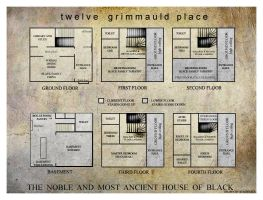Grimmauld Floor Plans by StagNight