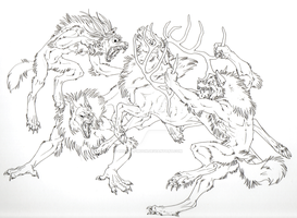 Commission- Rareform WIP lineart by RedWolfmoon