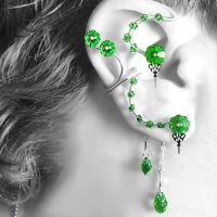 Peridot Steampunk Ear Wrap and Cuff Set v2- SOLD by YouniquelyChic