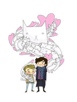 Sherlock and John: cat jumper by SherlockShiverNShake