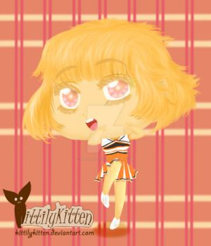 Orange Cheerleader Chibi~! by Kittilykitten