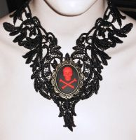 Skull Cameo Lace Choker by Sophie-Adamson