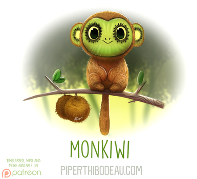 Daily Paint 1620. Monkiwi by Cryptid-Creations