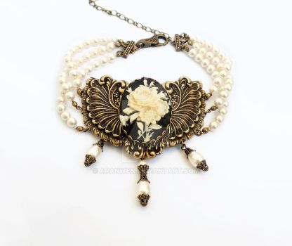 Three strand pearl choker with flower cameo by Aranwen
