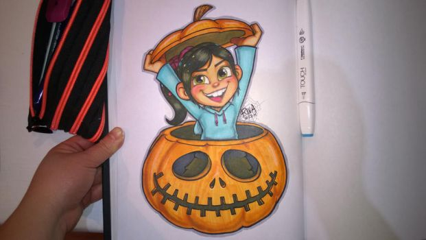 Vanellope in a Jack-o-lantern by riva13