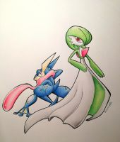 Greninja and Gardevoir by Snowsupply