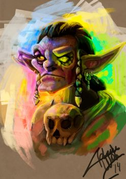 Goblin portrait + process by Adrian Wolve by AdrianWolve