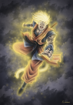 Digital Paint   Son Goku from Dragon Ball by Aethereo
