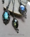 Three Large Labradorite Pendants by blackcurrantjewelry