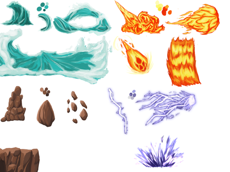 Stylized Elemental Practice Page by DragonLoreStudios