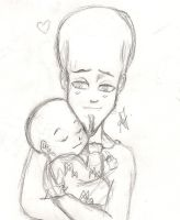Megamind and Mini M - sleeping with dad by Arika27