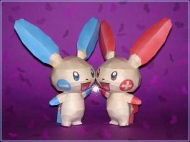 Plusle and Minun Papercraft