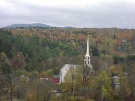 Vermont Church and Mountains by LordNegaduck