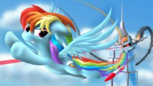 Rainbow Dash vs. RDash 5000 by Awalex