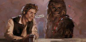 Han Solo and Chewbacca by mstrychowska