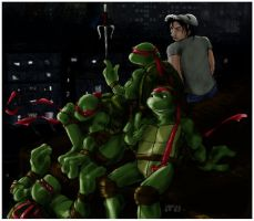 Turtles and Casey by loolaa