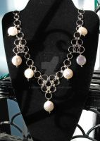 Chainmail Coin Pearl Necklace by Adornments