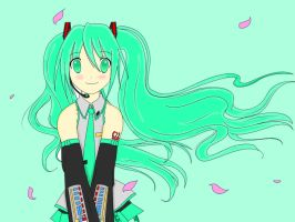 Hatsune Miku - LINEART COLORED by PinkHairedWonder