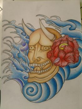 Hannya Mask tattoo final by DrawsfromChrissy