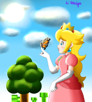 Peach and the buterffly by windgm