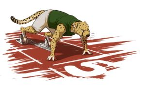 Cheetah on the Starting Blocks by Temiree