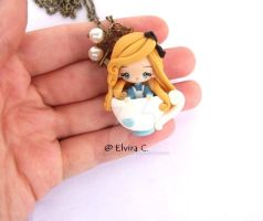 Alice in cup polymer clay necklace by elvira-creations